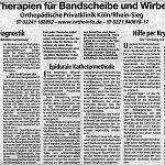 Kölner Rundschau, Therapien für Bandscheibe
